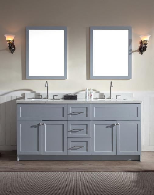 Ariel Hamlet 73 Double Sink Vanity Grey Cabinet White Quartz Countertop Double Vanity Bathroom White Quartz Countertop Double Sink Vanity
