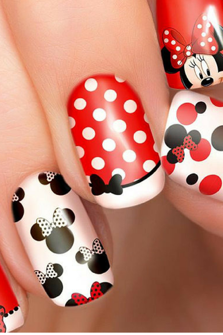 $5.63 - Minnie Mouse Disney nail transfers - illustrated nail art ...