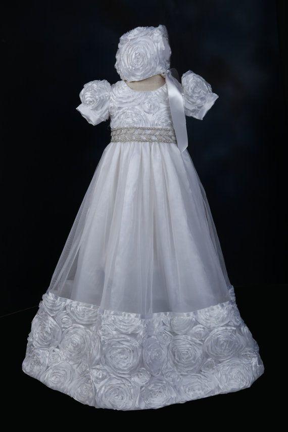 Baby Flower Girls White Tulle Dress Gown Christening Baptism Rosettes Bonnet New