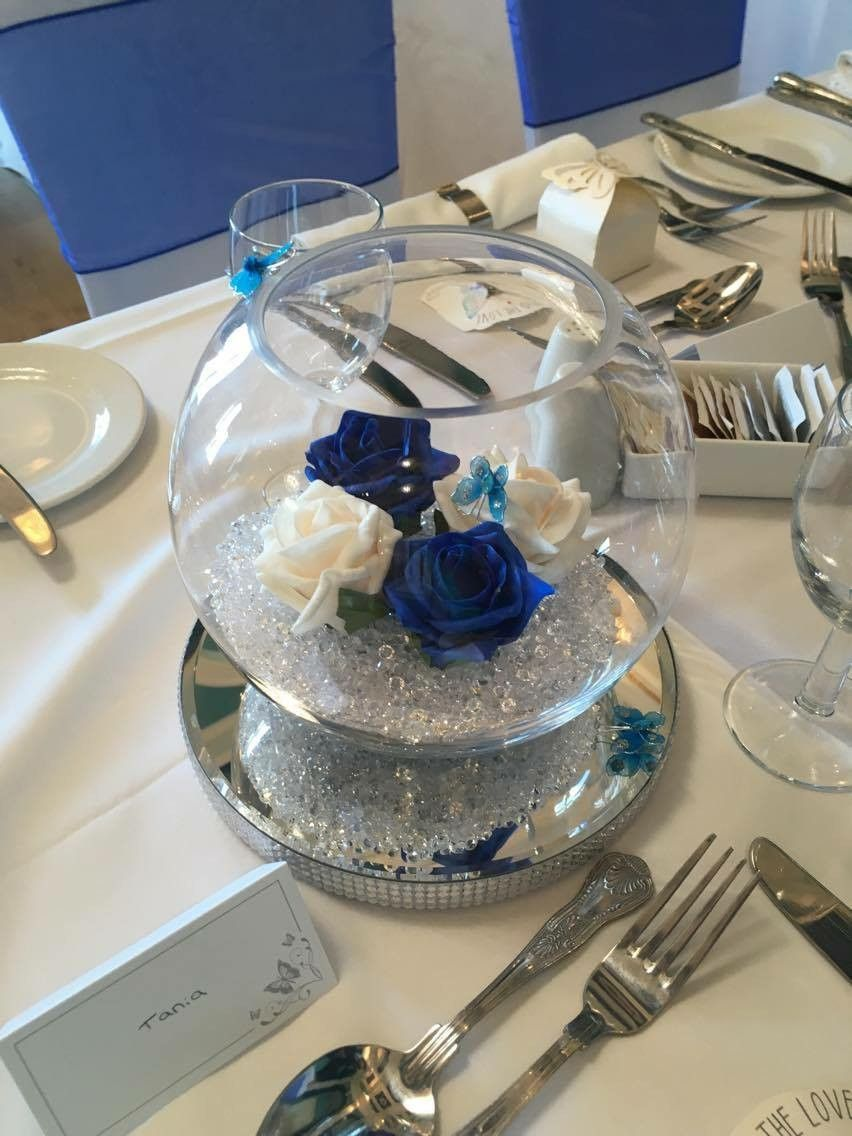 Butterfly Royal Blue Wedding Centre Piece Blue Wedding