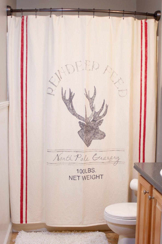 Feedsack christmas reindeer shower curtain by thecozyoldfarmhouse