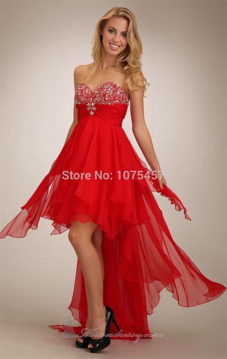 Click to buy ucuc new arrival short front long back red prom gowns
