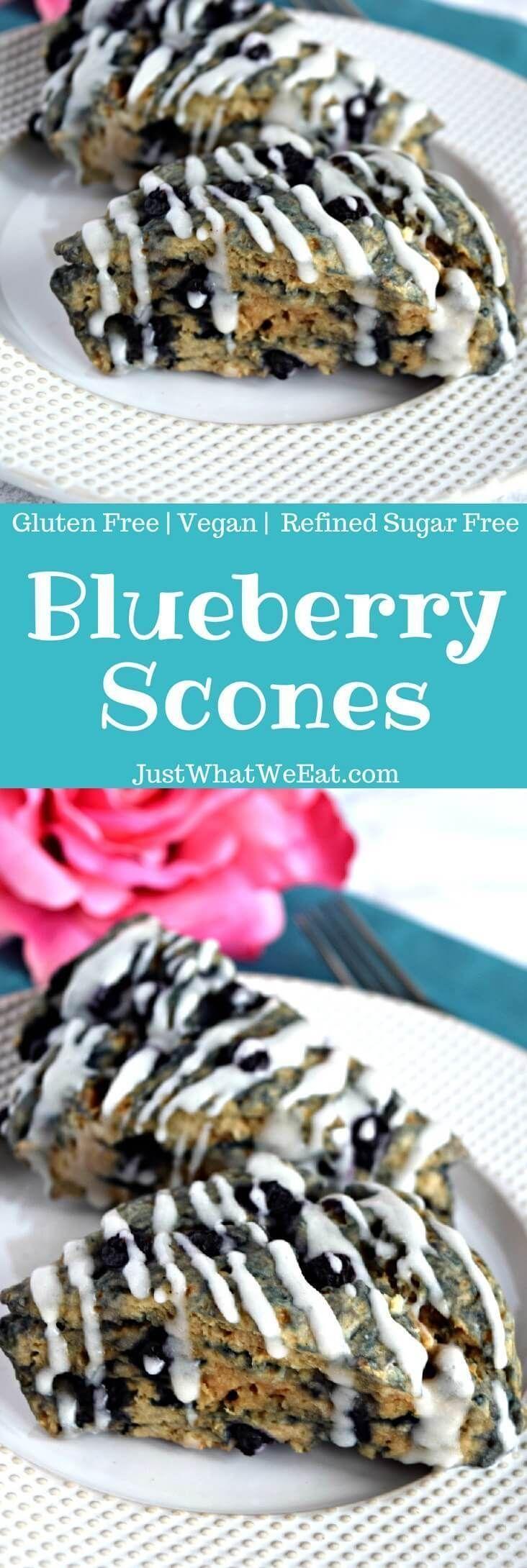 Blueberry scones gluten free vegan refined sugar