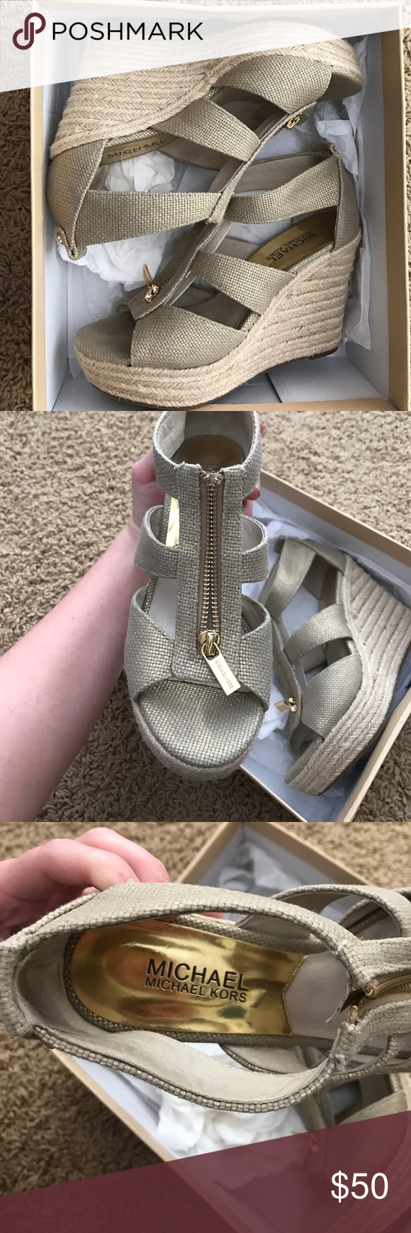 Michael Kors Damita Wedge in Gold SIZE 6 Gold metallic fabric on top with gold zipper. Only been worn a few times, just were a little too small on me. Still has original box!!! Michael Kors Shoes Wedges