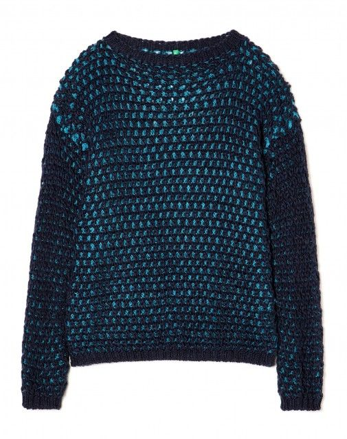 Shop Perforated sweater Dark Blue for KNITWEAR at the official United Colors of Benetton online shop.