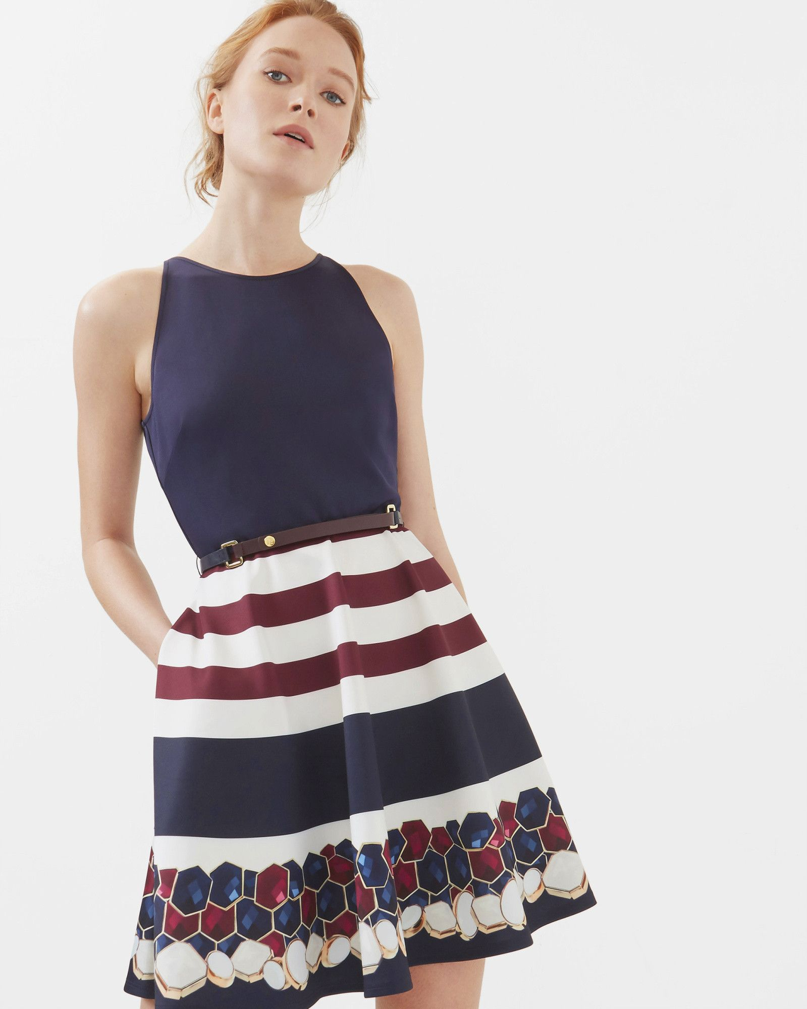 Rowing Stripe skater dress - Navy | Dresses | Netherlands Site ...