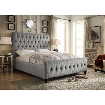 Celeste Grey Upholstered Bed In 2020 Grey Upholstered Bed