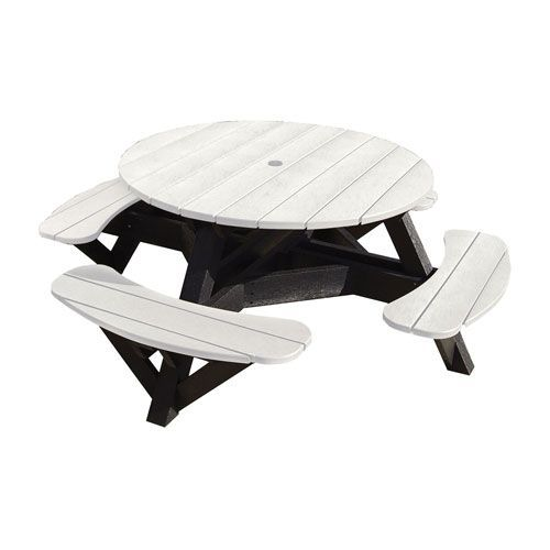 Generations Inch Round Picnic Table Black Frame White Round - White round picnic table