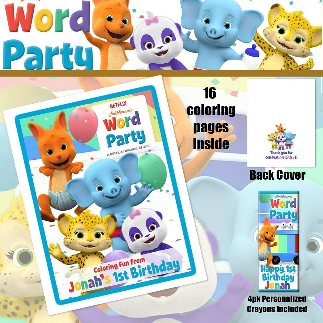 Word Party Coloring Book Crayons Birthday Party Personalized Favors By Tothetcreat Crayon Birthday Parties Personalized Birthday Shirts Personalized Favors