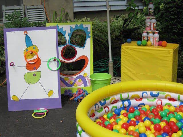 cumpleaos infantiles con decoracin pintada y piscina