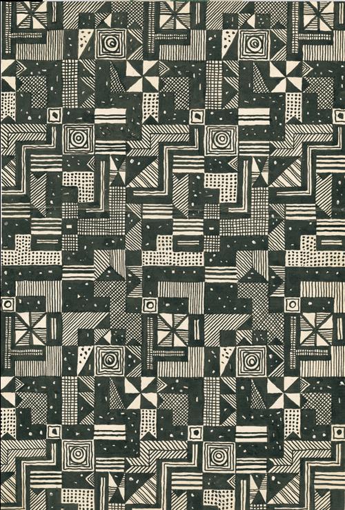 Fabric design drawing by josef hoffmann for wiener werkstätte 1928