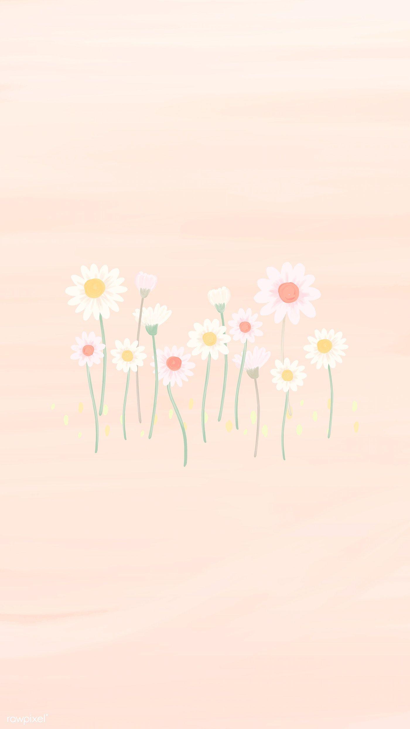 Download Premium Vector Of Hand Drawn Daisy Mobile Phone Wallpaper Vector Daisy Wallpaper Flower Phone Wallpaper Flower Wallpaper