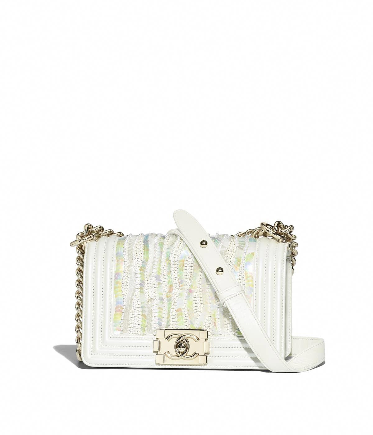 de6e69815d9a Handbags of the Spring-Summer 2018 CHANEL Fashion collection : Small BOY  CHANEL Handbag, metallic embroidered lambskin, sequins, imitation pearls ...