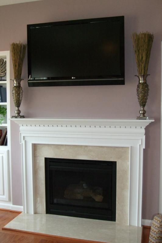 Fireplace mantel and Living r…