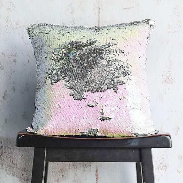 IDESCENT & SILVER SEQUIN MERMAID PILLOW