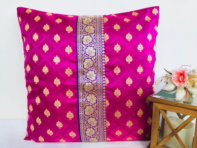 pink purple pillow cover silk pillow