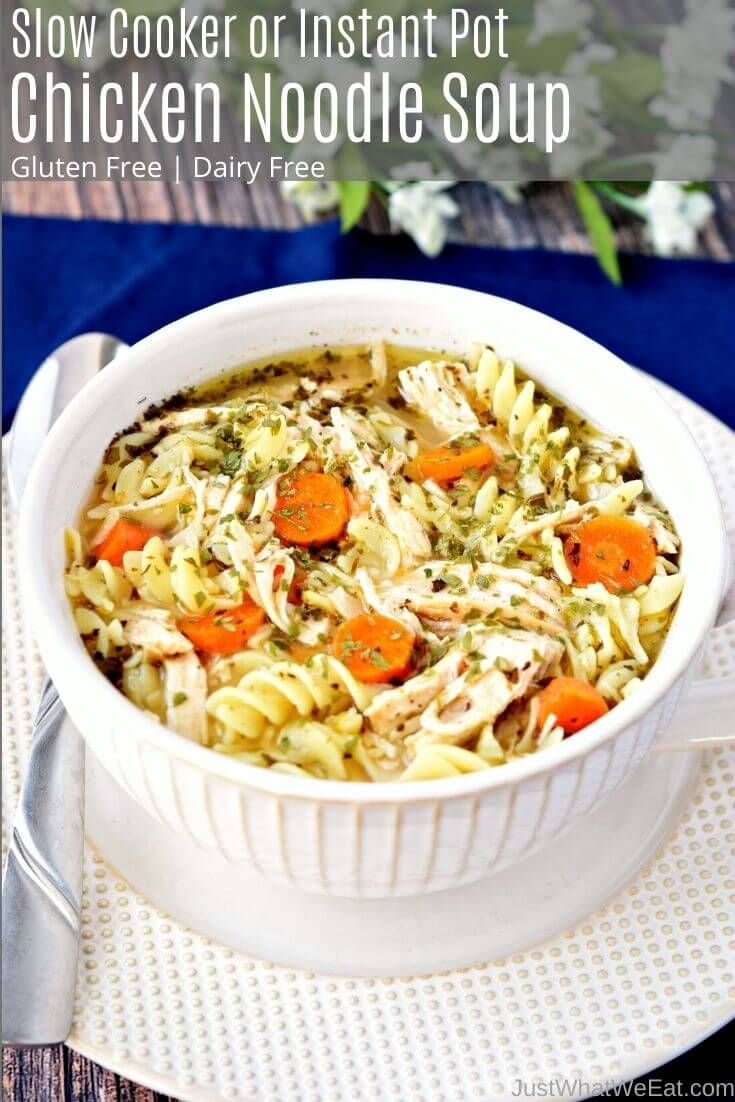Instant Pot Chicken Noodle Soup - Gluten Free, Dairy Free - Just What We Eat
