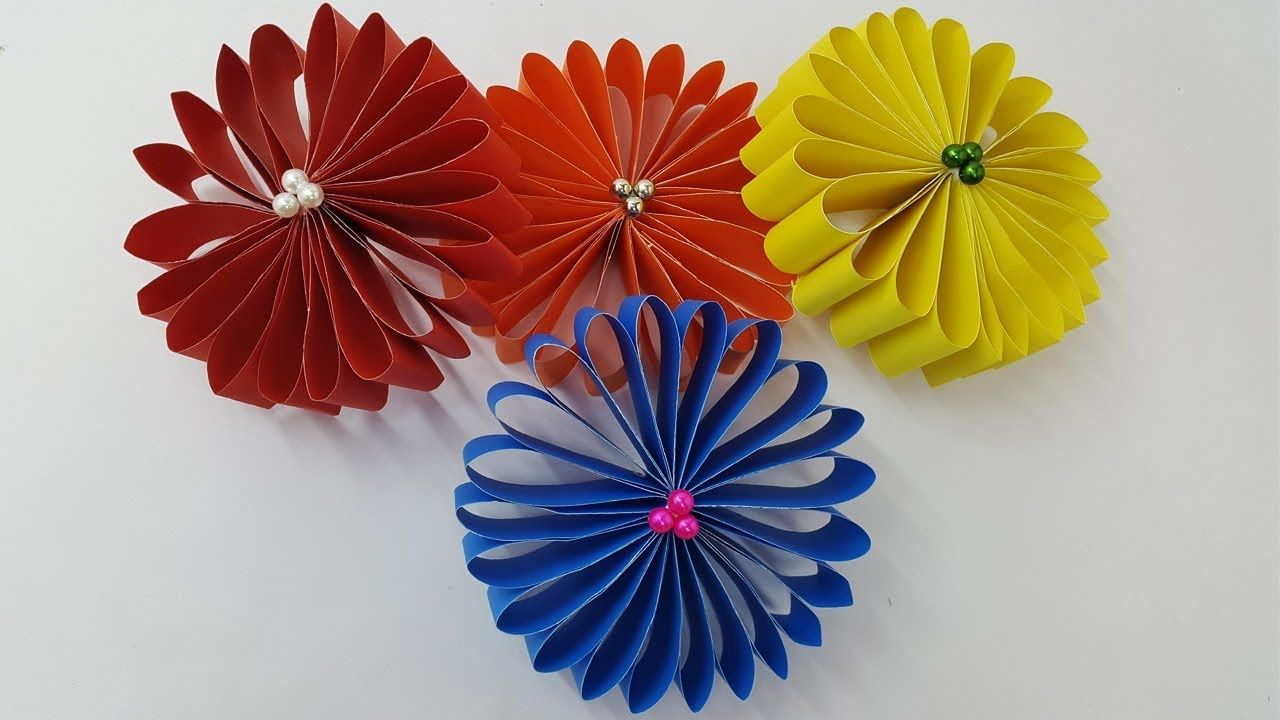 How To Make A Paper Flowers Very Easy And Simple Paper Crafts Diy