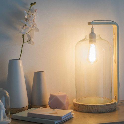 Lampada a campana in vetro e legno H 48 cm FRESNEL