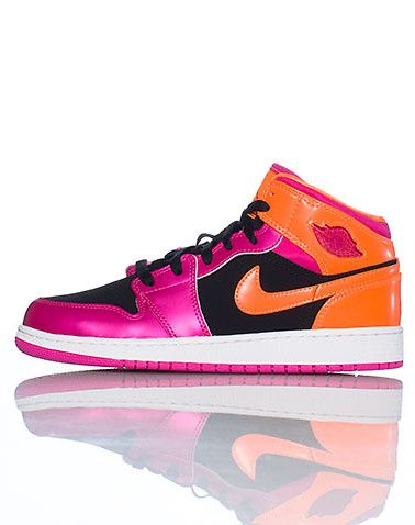 new concept ed990 51732 JORDAN Mid top girl s sneaker Lace up closure Iridescent colorway AIR JORDAN  bubble logo on side of shoe Cushioned sole for ultimate comfort