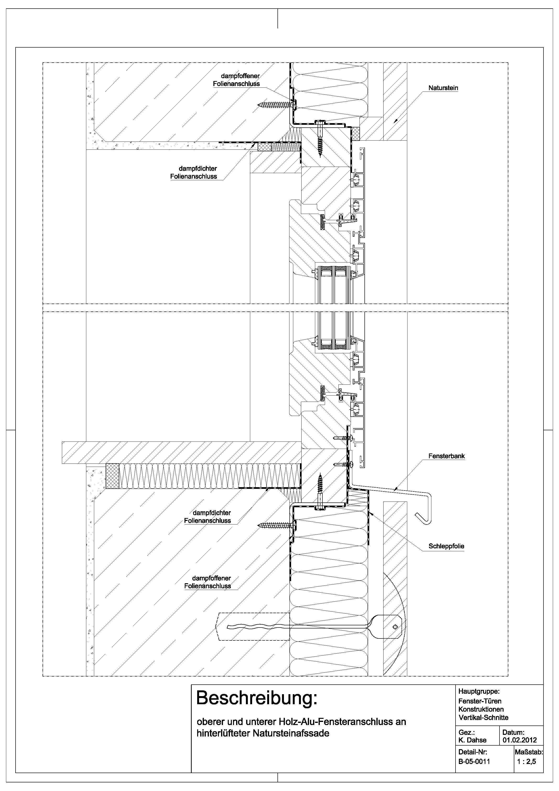 B050011 oberer und unterer HolzAluFensteranschluss an