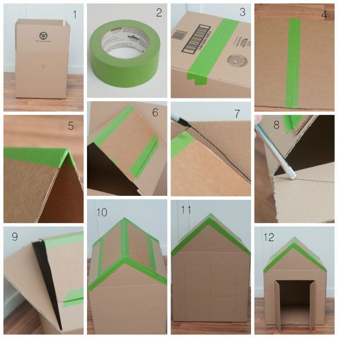 How to make a dog house with a cardboard box