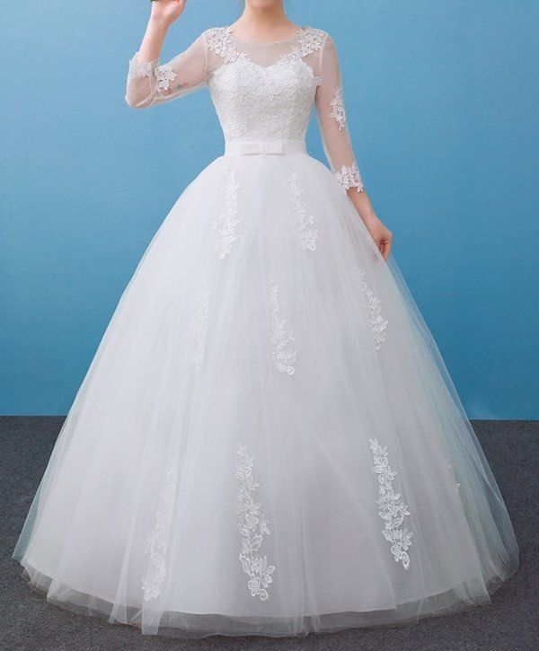 New Lace Wedding Dress flower bow ribbon bridal gown princess ...