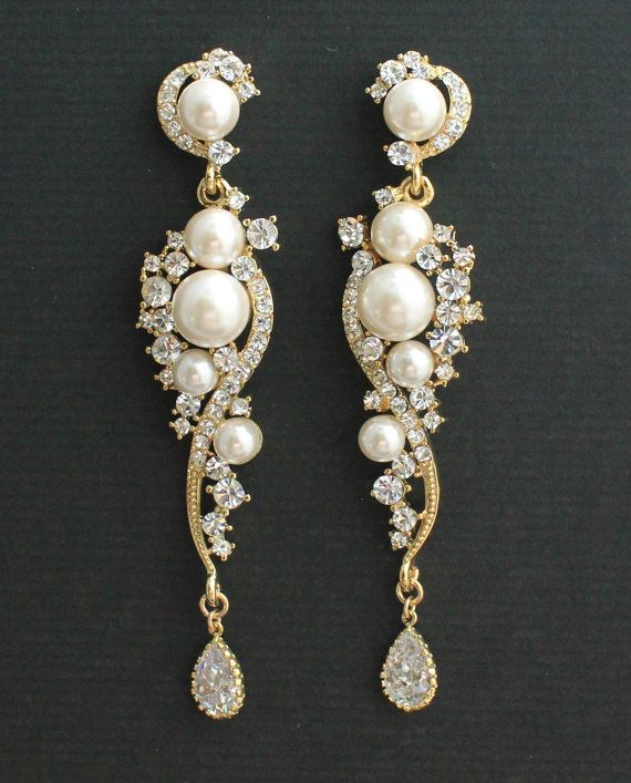 Gold Bridal Earrings Crystal Pearl Chandelier Tilly