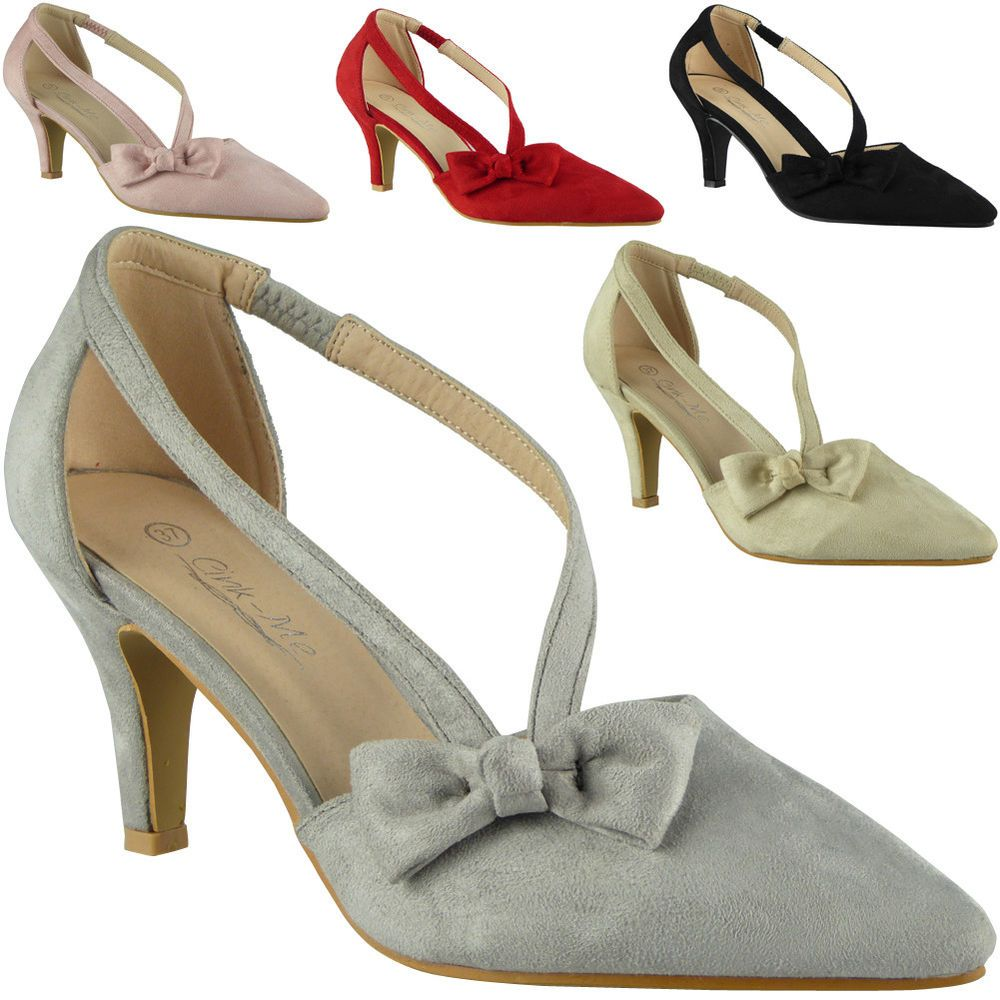 Womens Sandals Slip On Elastic Strap Mid Heel Ladies New Office Work Party Shoes