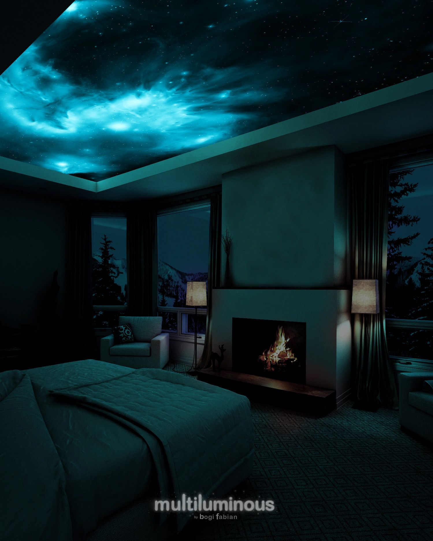 Bring Magic To Your Home With Glowing Galaxy Prints Martha Stewart These Intricate Canvas Murals Black Lights Bedroom Galaxy Bedroom Bedroom Ceiling Light