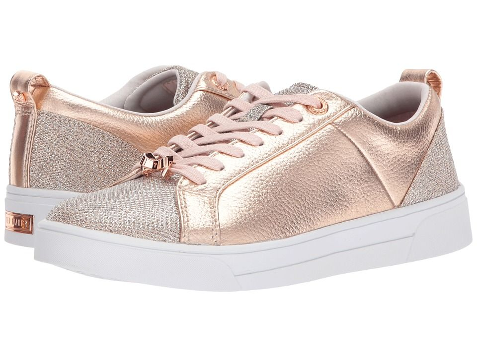 6d15fbc28 Ted Baker Kulei Women s Lace up casual Shoes Rose Gold Lurex Leather ...