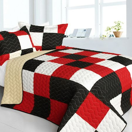 Modern Red Black White Patchwork Teen Boy Bedding Full/Queen Quilt ... : red quilts bedding - Adamdwight.com