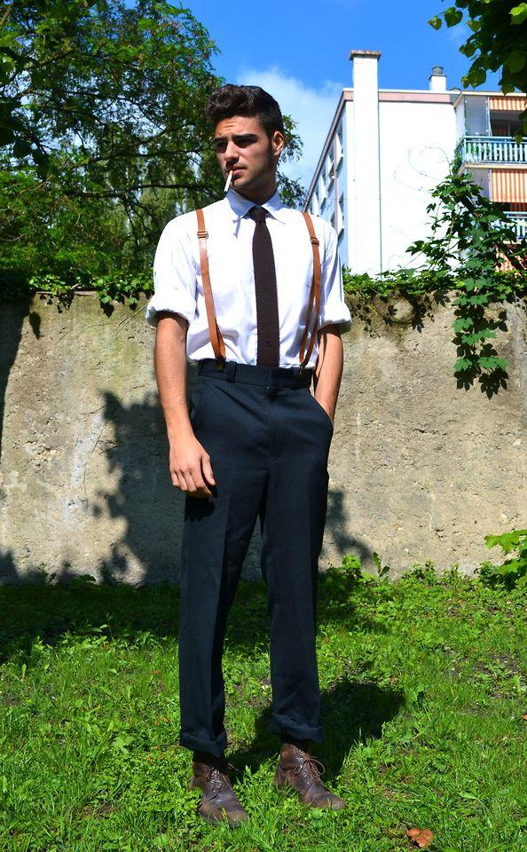 16074fe207d4 blue pants brown suspenders | Uniform in 2019 | Brown suspenders ...