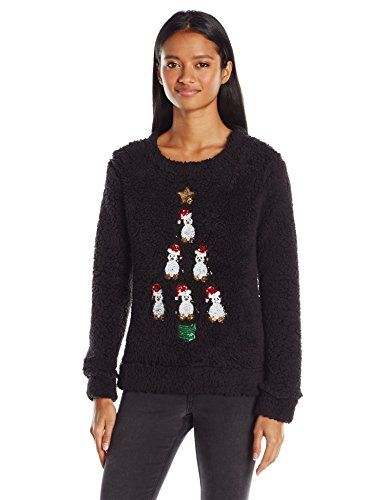 Miss Chievous Womens Cozy Sherpa Pullover with Sequin Appliques