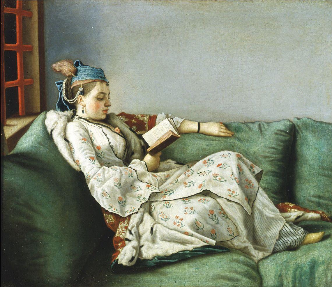Portrait de Adélaïde de France, assise dans un sofa, avec un livre, 1753 Jean-Etienne Liotard