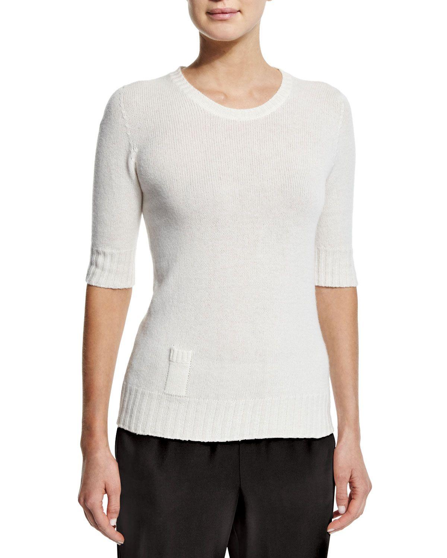 Cashmere Sweater W/Lipstick Pocket, Ivory - Agnona | *Neiman ...