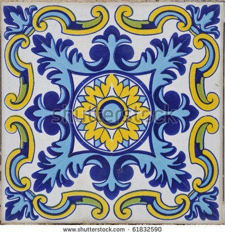 Authentic Mediterranean Ceramic Tile Square Stock Photo