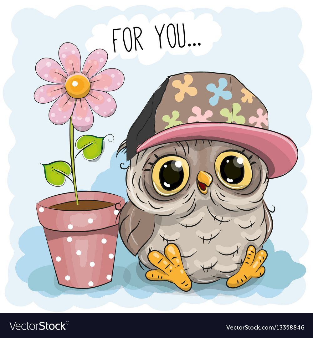 Greeting Card Cute Cartoon Owl With Flower Download A Free Preview Or High Quality Adobe Illustrator Ai Eps Pdf An Cute Owl Cartoon Owl Cartoon Cute Cartoon