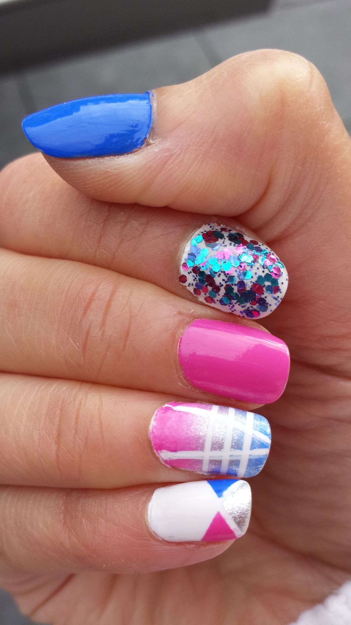 Blue, Pink, White and Silver Mani with free hand nail art using ...