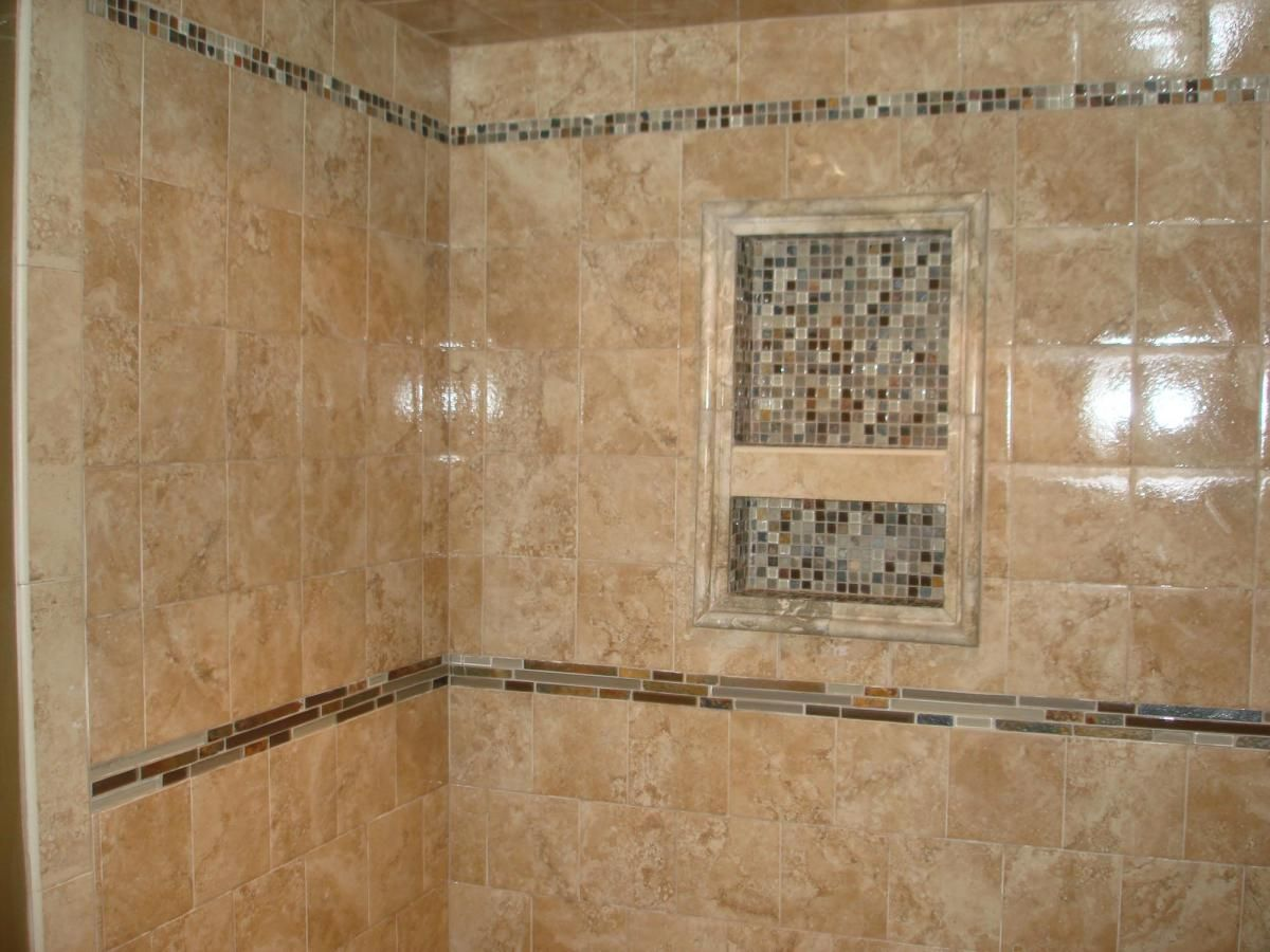 bathroom tile ideas | porcelain tile shower with glass and slate