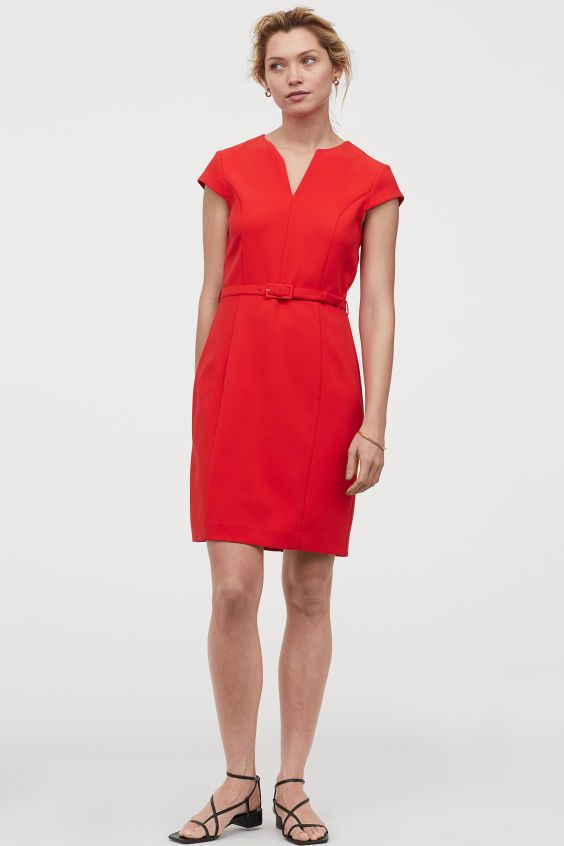 Figurnahes Kleid - Rot - Ladies   H&M DE in 2020 ...