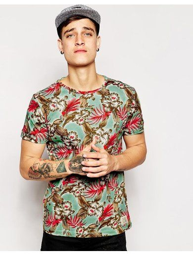 Blend T-Shirt All Over Floral Print - Green