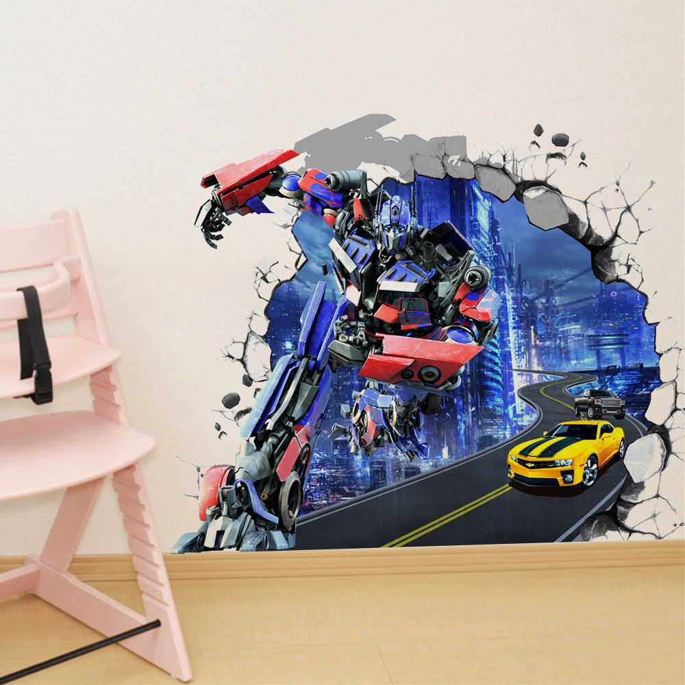 Cute transformers wall stickers kids bedroom removable baby nursery wall decals home decor look like 3d & Cute transformers wall stickers kids bedroom removable baby nursery ...