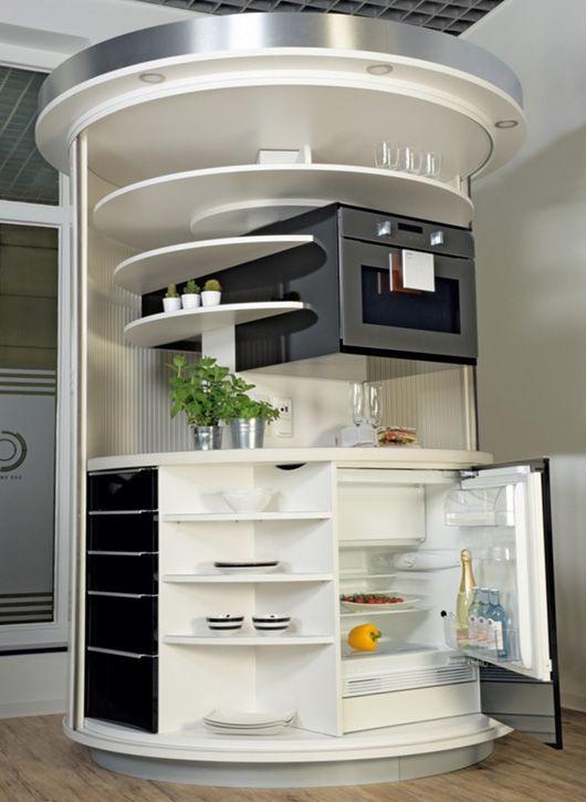 Drehbares Rundkuchen Kompaktkonzept All In One Fur Urbanes Wohnen Luxury Kitchen Decor Modern Kitchen Design Kitchen Interior