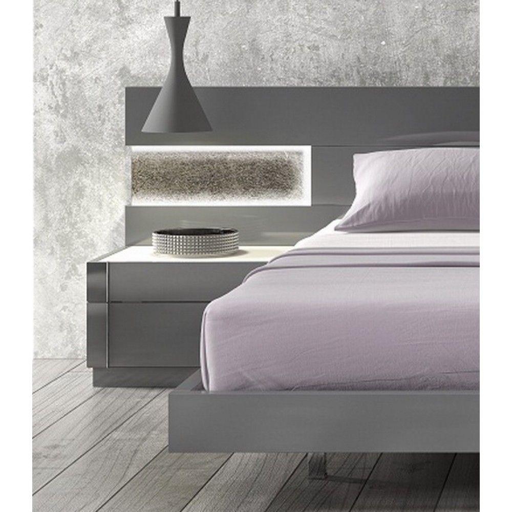 Braga Grey Lacquer/Natural Wood Nightstand Wood