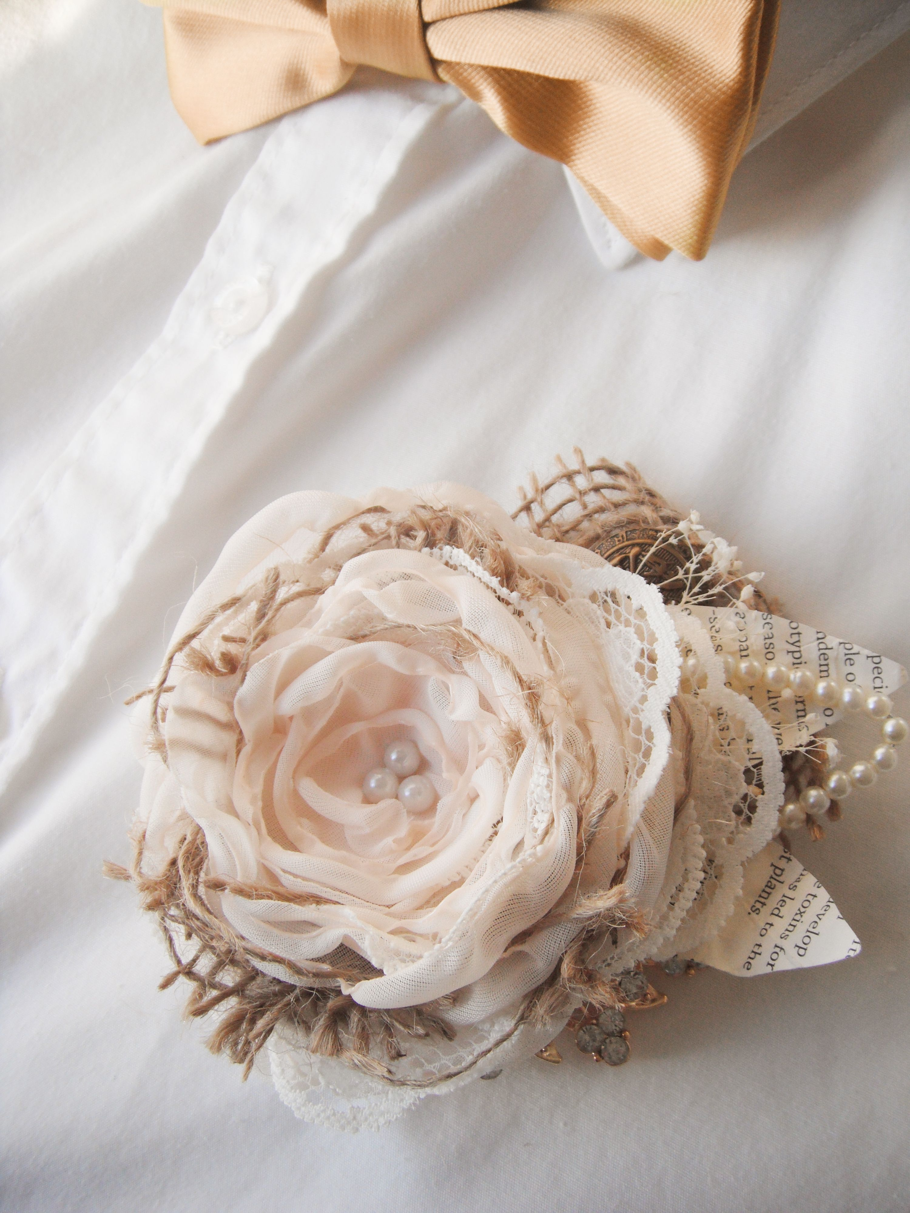 Burlap and lace fabric flower boutonniere by mademoiselle artsy burlap and lace fabric flower boutonniere by mademoiselle artsy izmirmasajfo