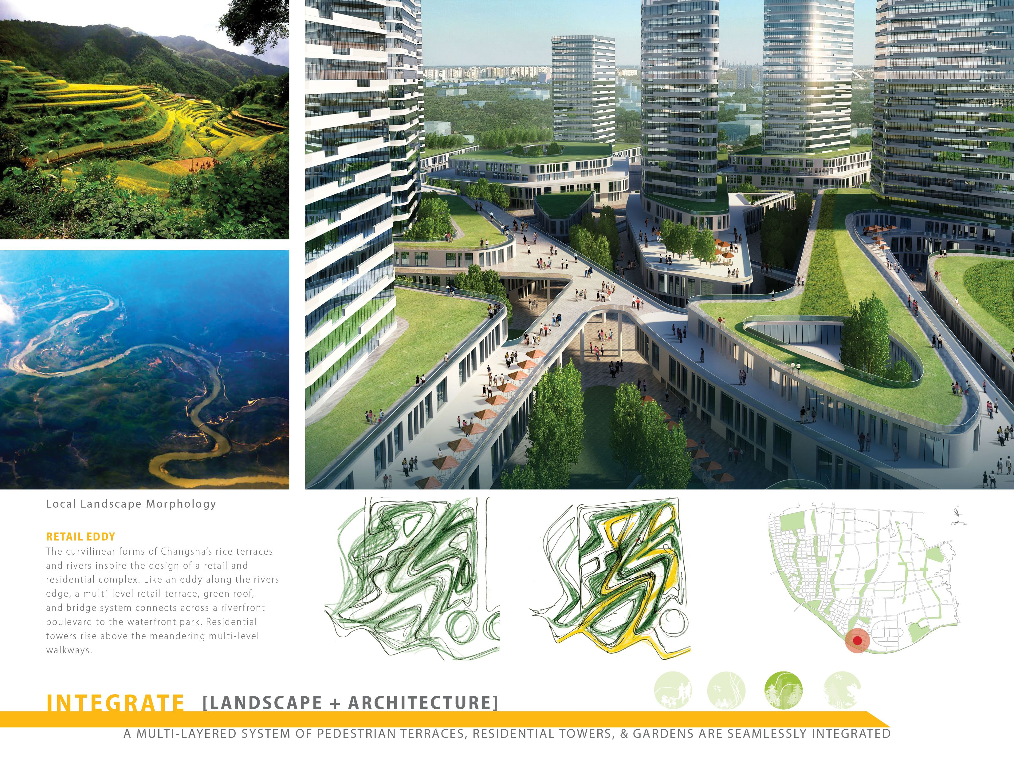 A Multi Layered System Of Pedestrian Terraces Residential Towers