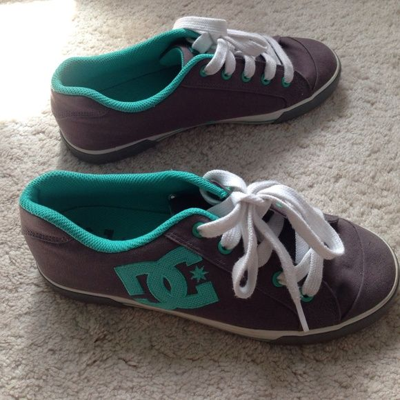 Women's 9.5 DC Skate Shoes Gray Mint Worn toward the end of my skater phase so I didn't wear them often. Very gently used with no signs of wear. Very comfortable for walking since they're designed to skate and have extra padding! Feel free to make an offer or bundle for a better deal! DC Shoes Athletic Shoes