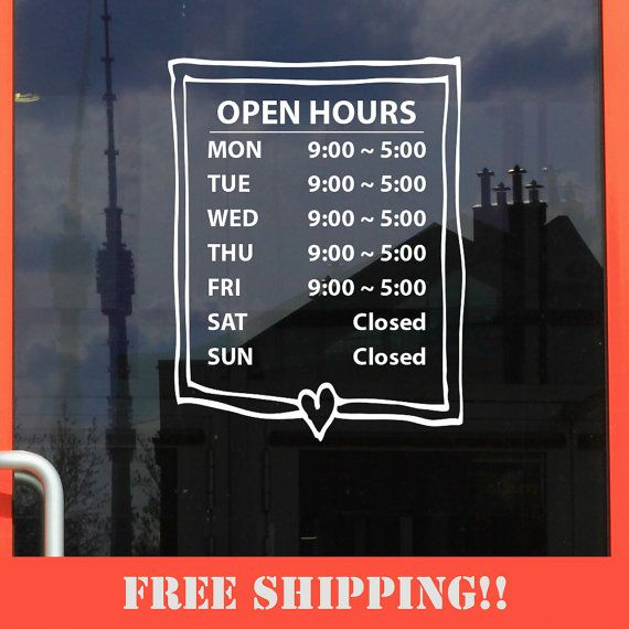 Business Store Hours Sign Window Shop Open Office Sticker Decal - Window stickers for business hours