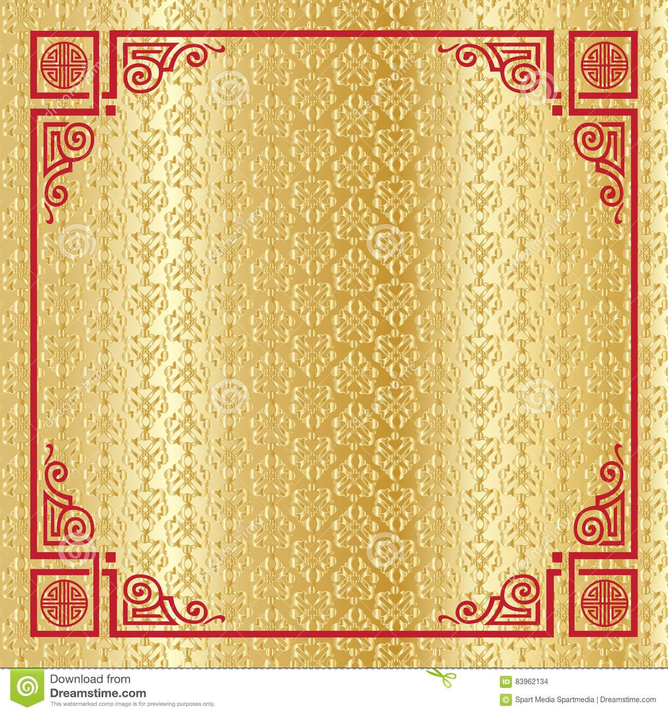 Chinese New Year 2019 greeting card gold background
